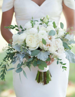 Bridal bouquet peonies and eucalyptus