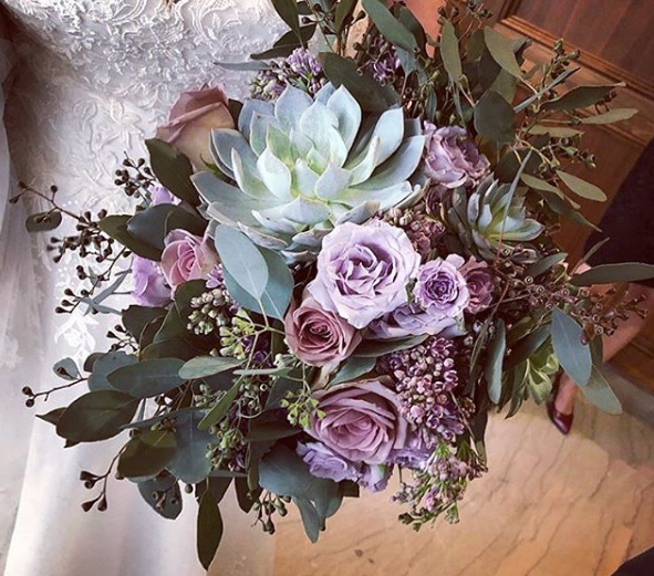 Violets and Greens Bridal Bouquet