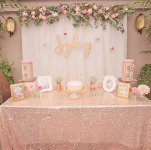 Shower Backdrop Blush and white