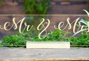 Mr and Mrs Sign Acrylic Clear Sweetheart
