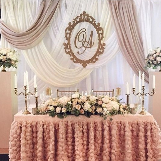 Draping Backdrop with monogram