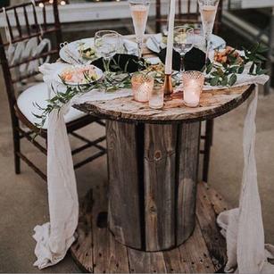 Wood Spool Sweetheart Table Rental