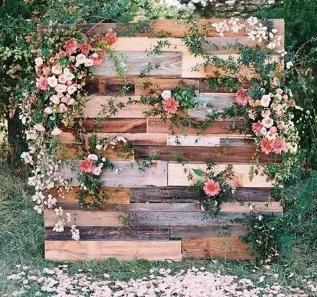 Rustic Wood Flower Wall Backdrop