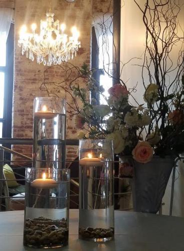 Candle lit centerpieces