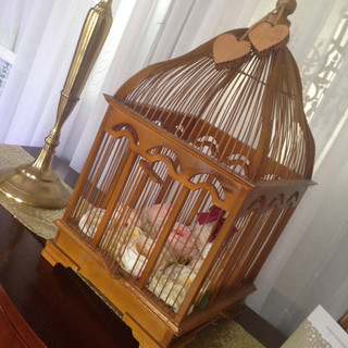 Teak Birdcage Card Box RENTAL