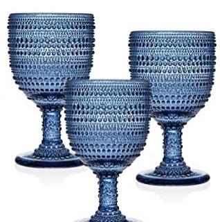Navy Blue Stemware Water Glasses Rental.