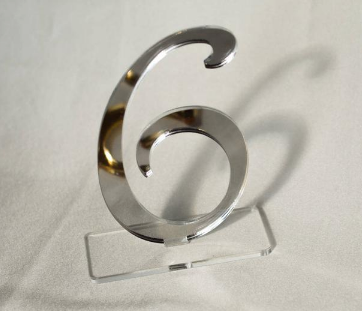 Silver Mirror Table Number