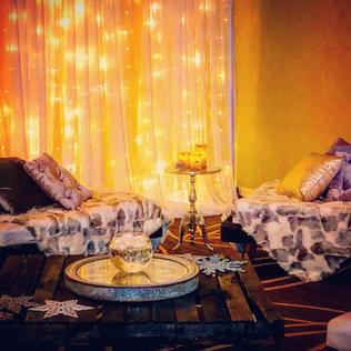 twinkle light amber uplight backdrop