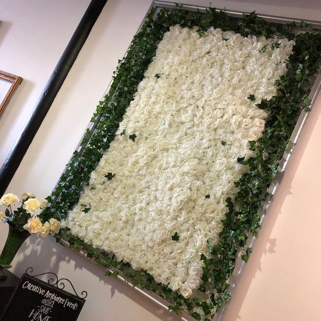 White Rose Flower Wall