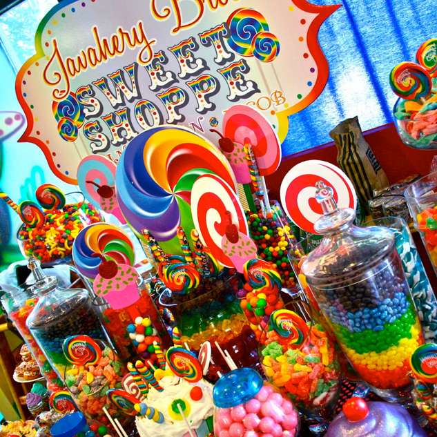 candy station backdrop and uplighting