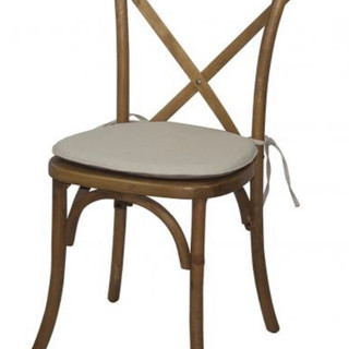 Wood Crossback Chair and Cushion