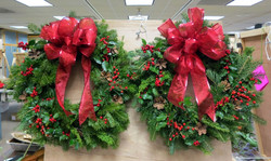 red and green wreaths $65