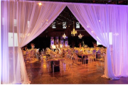 Room Divider Drapes & Uplighting Rental