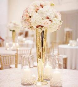 Gold Metallic Trumpet Vases