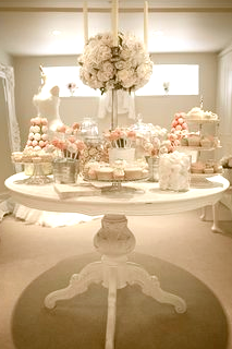 White and Blush Candy Station Rental & P