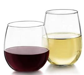 Red Wine & White Wine Stemless Glasses Rental