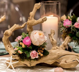 Driftwood and Flower Centerpieces Newpor