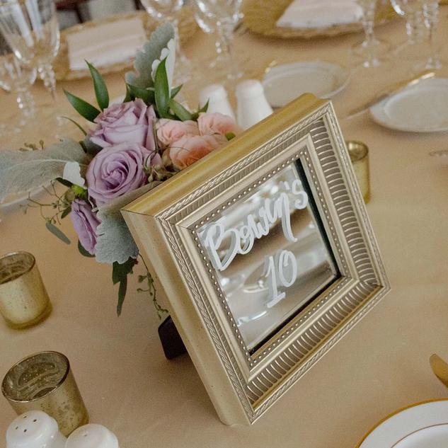 Elegant Framed Mirror Table Numbers