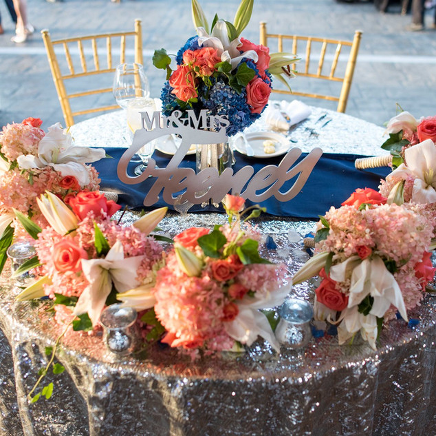 Silver Sequined Sweetheart Table
