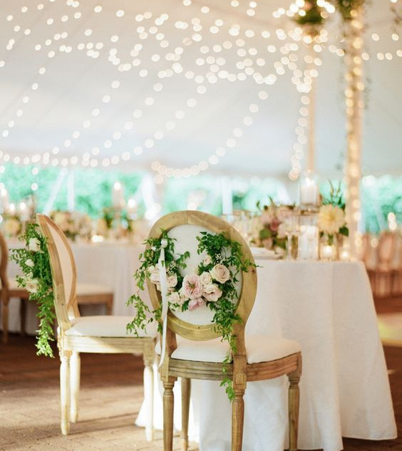 French Chairs Floral Garland Sweetheart Table
