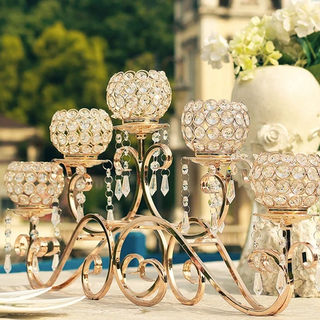 """Crystal and gold 22"""" Wide Candleabra Rentals"""
