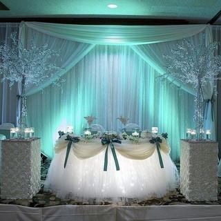 Sweetheart Table Underlighting Backdrop with Uplighting