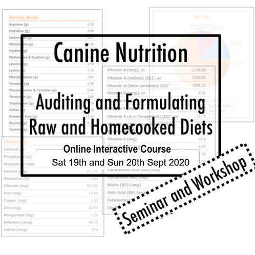 Canine Nutrition Online - Auditing and Formulation of Raw and Home-cooked Diets