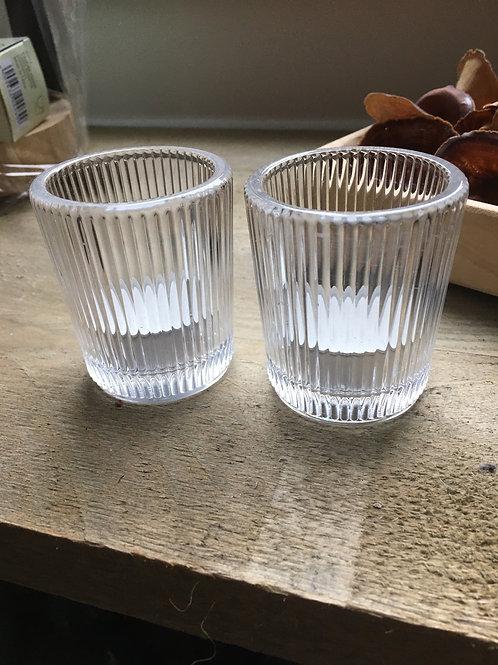 Geribbeld glas votief voor geurkaars 5,6xH6,9cm