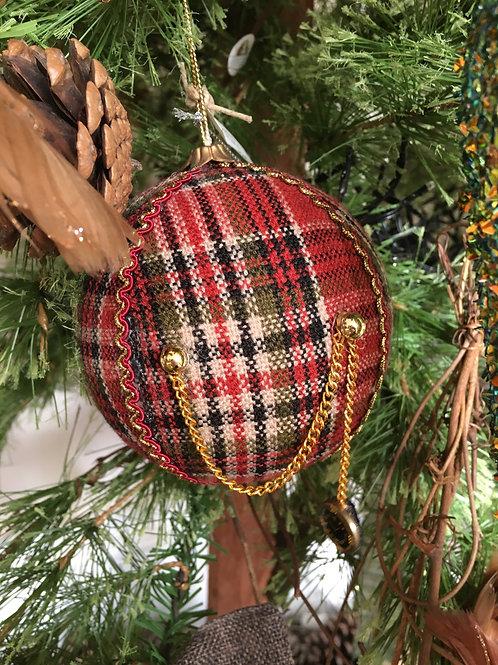 Kerstbal stofdeco geruit met klok