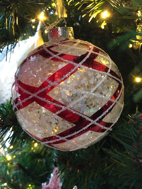 Kerstbal glas rood/wit geruit