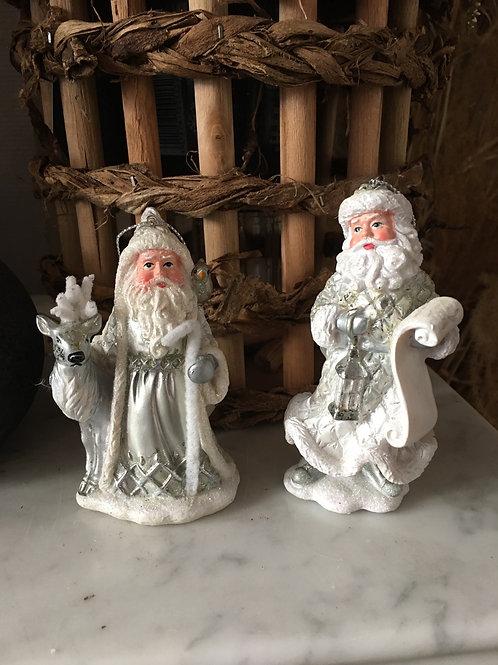 Kerstmannetje zilver/wit