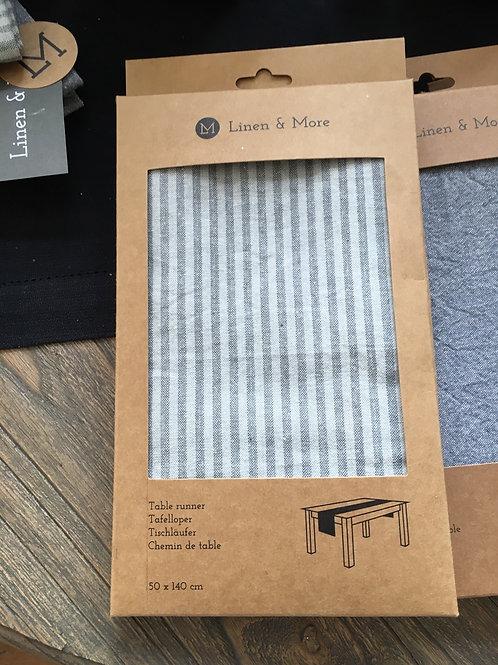 Linnen tafelloper gestreept grijs/beige