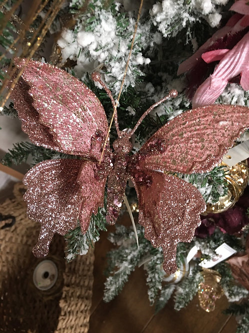 Vlinder roze met glitter op clip
