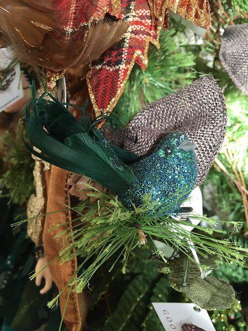 Feather glitter bird on clip blue