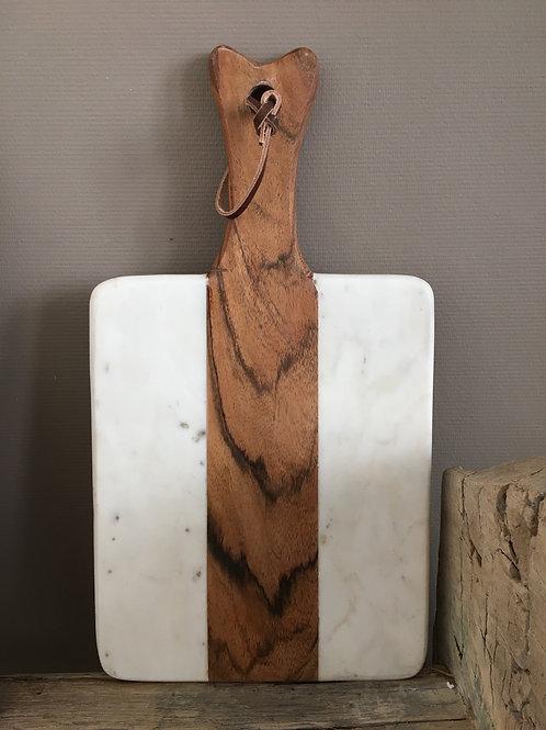 Snijplank hout / wit marmer