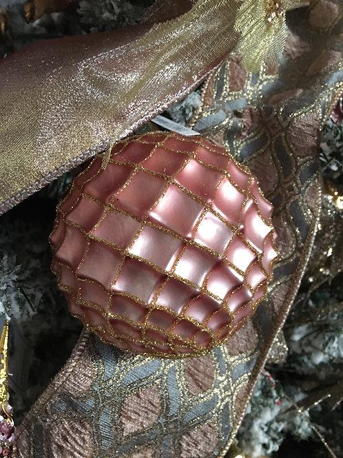 Kerstbal glas net roze/goud