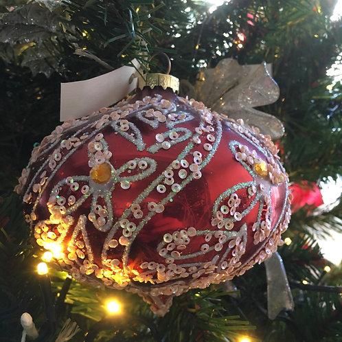 Kerstbal glas swirl blaadjes rood/roze