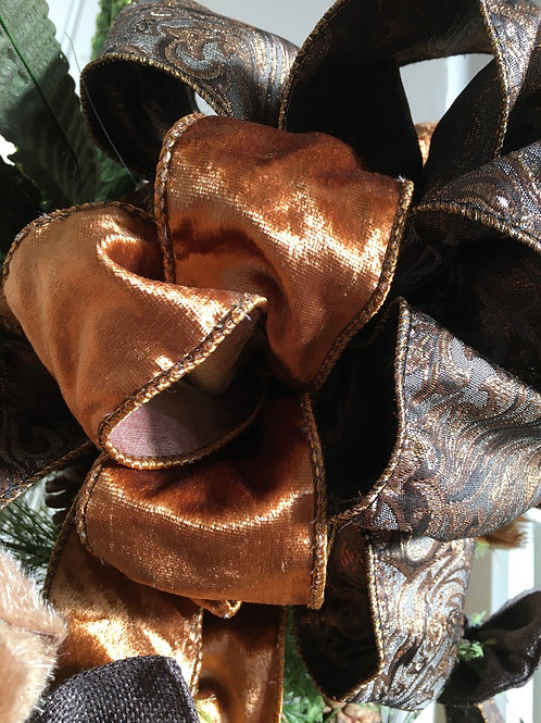 Ribbon velvet Tissue black cognac/ gold