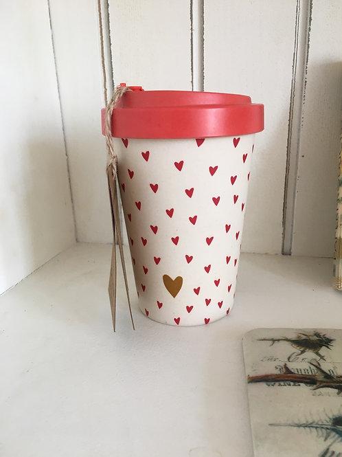 Travel mug hearts