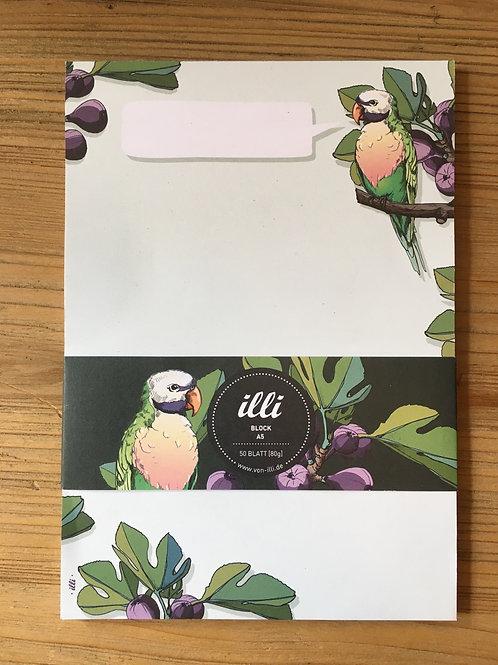 Schrijfblok papegaai - vijgen
