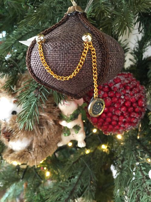 Kerstbal stofdecoratie bruin met klok