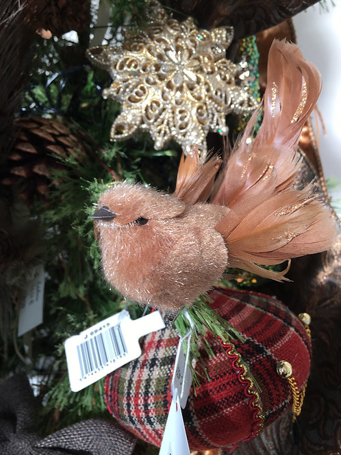 Flock Feater bird in clip brown