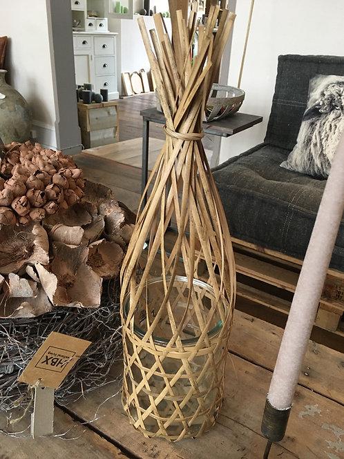 Theelicht bamboo / glas natuur
