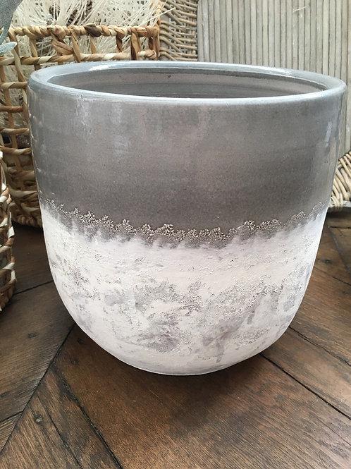 Bloempot grey/white