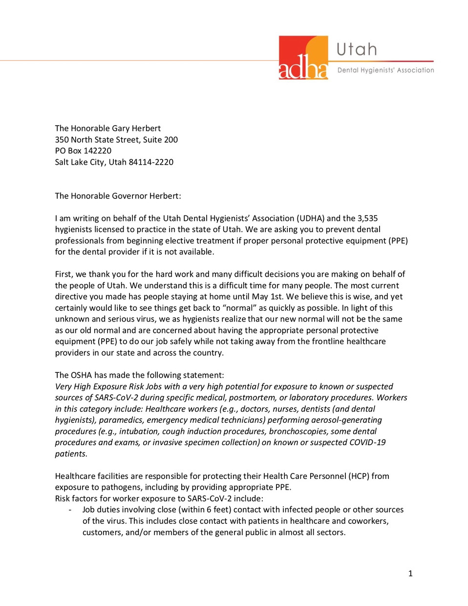 A Letter to Governor Gary Herbert from the Utah Dental Hygienists' Association