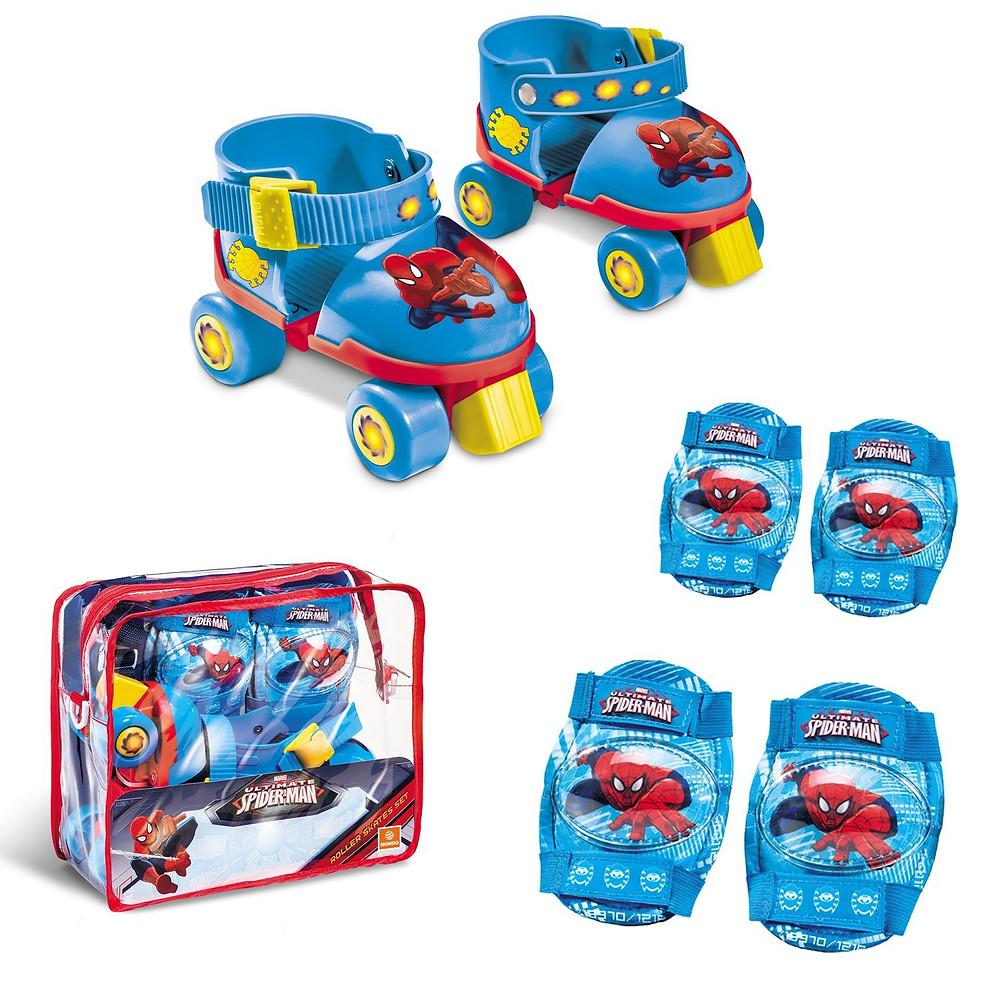 set de patines y protecciones de spiderman, rollers niños