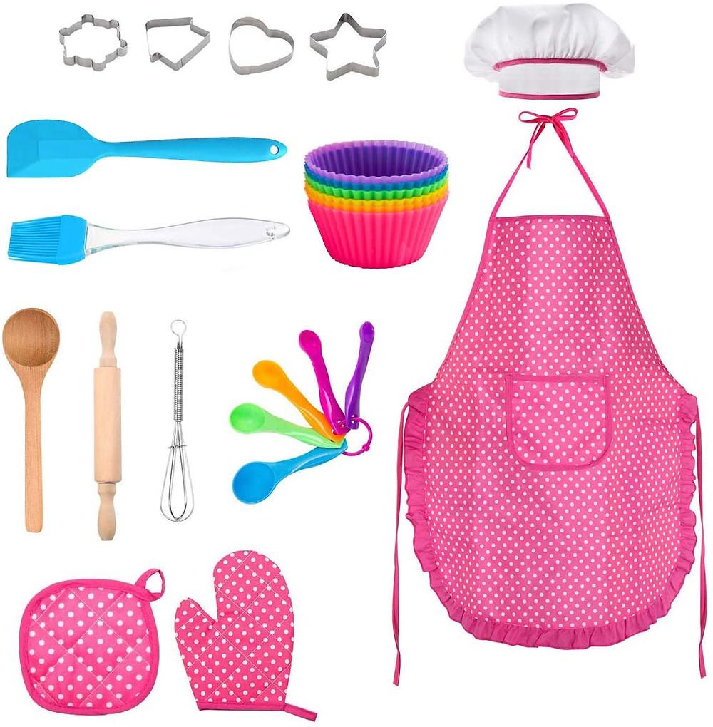 set repostería infantil, rodillo, espatula, magdalenas, niños, cocina, montessori