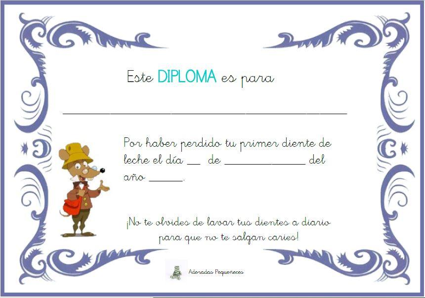 Diploma del Ratón Perez por la caída primer diente de leche