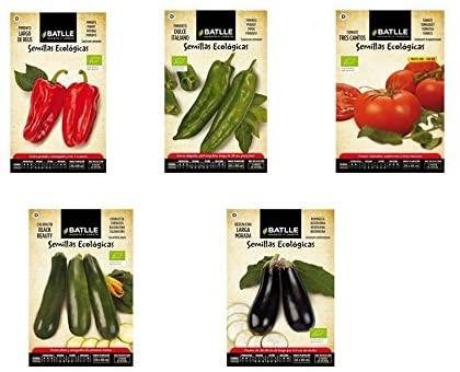 Lote Semillas Ecológicas Battle, pimiento, tomate, tres cantos, calabacín , berenjena