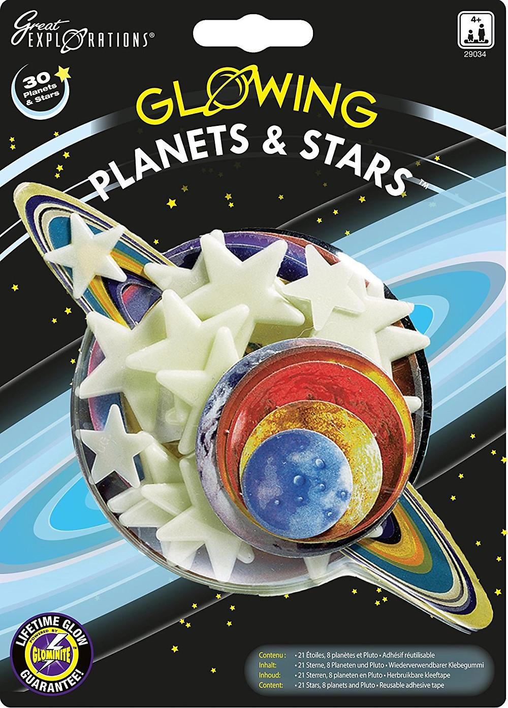 planetas y estrellas fluorescentes